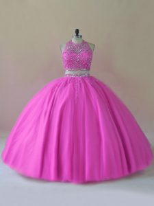 Best Selling Lilac Halter Top Neckline Beading Quinceanera Gowns Sleeveless Backless