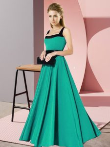 Turquoise Zipper Square Belt Dama Dress for Quinceanera Chiffon Sleeveless