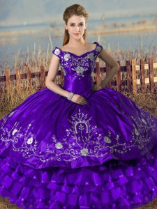 Best Purple Lace Up Off The Shoulder Embroidery and Ruffled Layers Quinceanera Dresses Satin and Organza Sleeveless