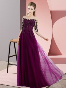 Fuchsia Half Sleeves Floor Length Beading and Lace Lace Up Bridesmaid Gown