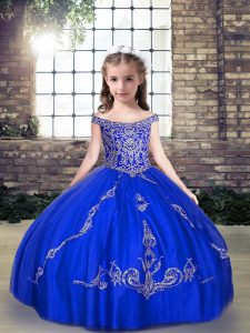 Beading Girls Pageant Dresses Royal Blue Lace Up Sleeveless Floor Length