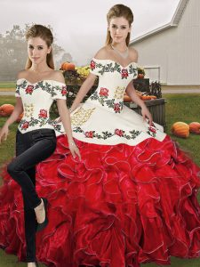White And Red Two Pieces Organza Off The Shoulder Sleeveless Embroidery and Ruffles Floor Length Lace Up Quince Ball Gowns