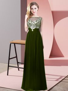 Most Popular Floor Length Empire Sleeveless Olive Green Homecoming Dress Online Backless