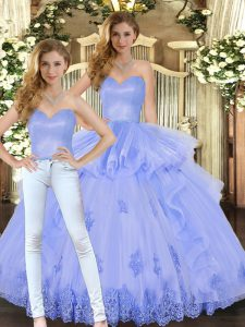 Nice Lavender Sweetheart Lace Up Appliques and Ruffles Sweet 16 Dresses Sleeveless