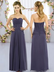 Free and Easy Navy Blue Dama Dress for Quinceanera Wedding Party with Ruching Sweetheart Sleeveless Lace Up