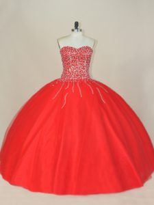 Red Sweetheart Lace Up Beading 15th Birthday Dress Sleeveless