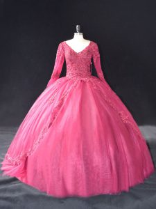 Artistic Hot Pink Lace Up V-neck Lace and Appliques Quinceanera Dress Tulle Long Sleeves