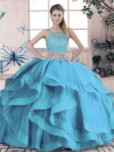 Glamorous Blue Two Pieces Beading and Ruffles Quince Ball Gowns Lace Up Tulle Sleeveless Floor Length