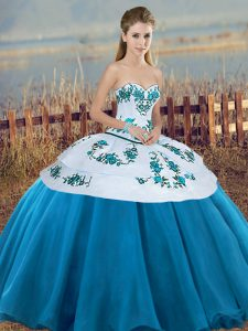 Floor Length Lace Up Quince Ball Gowns Blue And White for Military Ball and Sweet 16 and Quinceanera with Embroidery and Bowknot