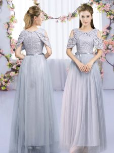 Sleeveless Tulle Floor Length Zipper Vestidos de Damas in Grey with Lace and Belt