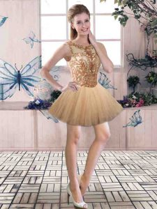 Fashion Gold Sleeveless Beading Mini Length Dress for Prom