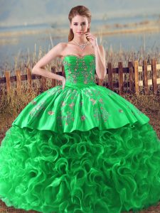 Best Sleeveless Lace Up Embroidery and Ruffles Sweet 16 Dress