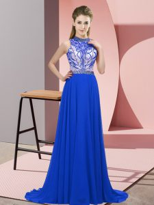 Traditional Blue Sleeveless Brush Train Beading Homecoming Dress