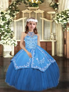 Customized Ball Gowns Kids Formal Wear Blue Halter Top Tulle Sleeveless Floor Length Lace Up