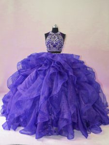 Elegant Purple Organza Backless Quince Ball Gowns Sleeveless Brush Train Beading and Ruffles