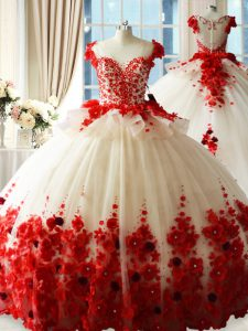 Sleeveless Brush Train Zipper Hand Made Flower Ball Gown Prom Dress