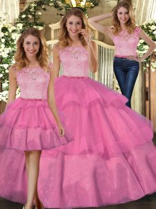 Elegant Tulle Scoop Sleeveless Zipper Lace Quinceanera Gown in Hot Pink