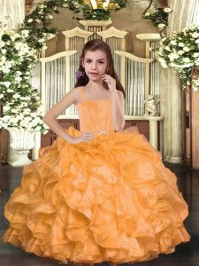 Floor Length Orange Winning Pageant Gowns Straps Sleeveless Lace Up