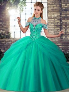 Sleeveless Brush Train Beading and Pick Ups Lace Up Quince Ball Gowns