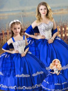 Satin Sweetheart Sleeveless Lace Up Beading and Embroidery Quinceanera Dress in Royal Blue