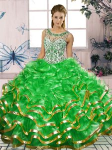 Traditional Green Organza Lace Up Quinceanera Gowns Sleeveless Floor Length Beading and Ruffles