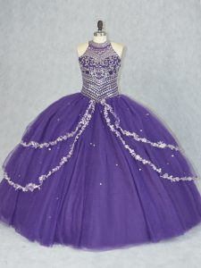 Sleeveless Tulle Floor Length Lace Up Sweet 16 Dresses in Purple with Beading