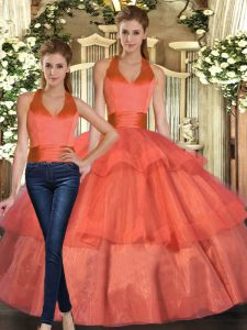 Excellent Orange Halter Top Lace Up Ruffled Layers Quinceanera Gowns Sleeveless