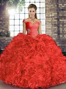 Attractive Coral Red Lace Up Off The Shoulder Beading and Ruffles Ball Gown Prom Dress Organza Sleeveless