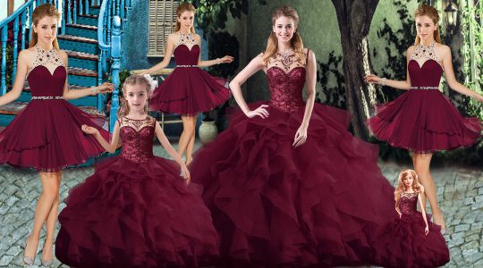 Ideal Scoop Sleeveless Brush Train Lace Up Sweet 16 Dresses Burgundy Tulle