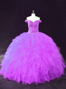Pretty Purple Sleeveless Beading and Ruffles Floor Length 15 Quinceanera Dress