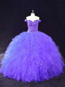 Ball Gowns Quinceanera Dresses Purple Off The Shoulder Tulle Sleeveless Floor Length Lace Up
