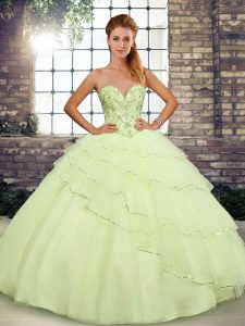 Yellow Sleeveless Tulle Brush Train Lace Up Vestidos de Quinceanera for Military Ball and Sweet 16 and Quinceanera