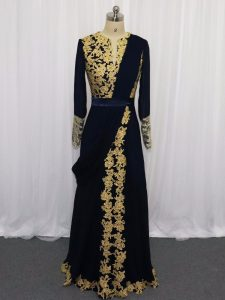 Gorgeous Navy Blue Scoop Zipper Lace and Appliques Prom Gown Long Sleeves