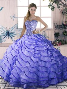 Sleeveless Beading and Ruffled Layers Lace Up Vestidos de Quinceanera with Lavender Brush Train