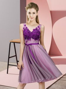 Shining Lilac Empire Tulle V-neck Sleeveless Appliques Knee Length Lace Up Bridesmaid Dresses