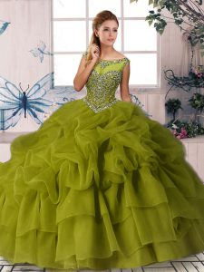 Adorable Olive Green Ball Gowns Beading and Pick Ups 15 Quinceanera Dress Zipper Organza Sleeveless