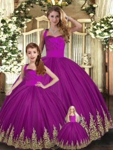 Enchanting Fuchsia Tulle Lace Up Sweet 16 Quinceanera Dress Sleeveless Floor Length Embroidery