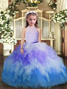 Custom Fit Multi-color High-neck Backless Ruffles Pageant Dress Wholesale Sleeveless