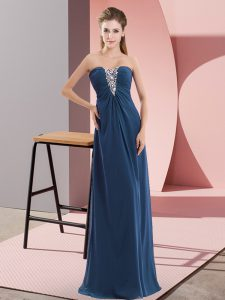 High Quality Navy Blue Empire Sweetheart Sleeveless Chiffon Floor Length Zipper Beading Prom Evening Gown