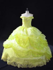 Fantastic Yellow Green Ball Gowns Off The Shoulder Sleeveless Organza Floor Length Lace Up Lace and Sequins Quinceanera Gown