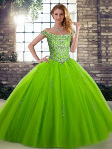 Off The Shoulder Lace Up Beading Quinceanera Dresses Sleeveless