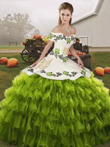 Olive Green Vestidos de Quinceanera Military Ball and Sweet 16 and Quinceanera with Embroidery and Ruffled Layers Off The Shoulder Sleeveless Lace Up
