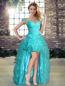 Unique Aqua Blue Organza Lace Up Dress for Prom Sleeveless High Low Beading and Ruffles