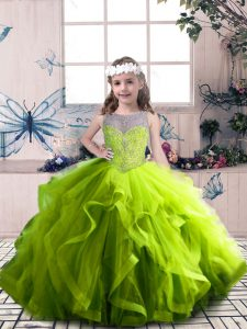 Olive Green Tulle Lace Up Winning Pageant Gowns Sleeveless Floor Length Beading and Ruffles