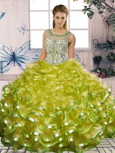 Olive Green Sleeveless Floor Length Beading and Ruffles Lace Up 15th Birthday Dress
