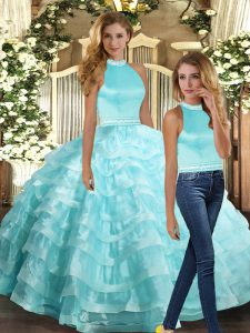 Sleeveless Backless Floor Length Beading and Ruffled Layers Vestidos de Quinceanera