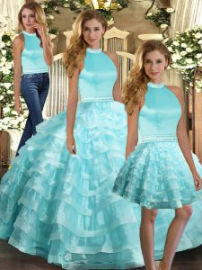 Perfect Sleeveless Floor Length Ruffled Layers Backless Vestidos de Quinceanera with Aqua Blue