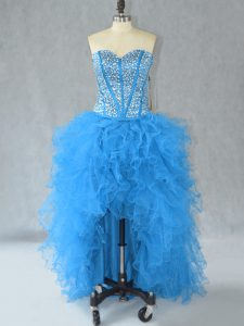 Charming High Low Lace Up Homecoming Dress Aqua Blue for Prom and Party with Beading and Ruffles