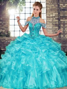 Most Popular Sleeveless Beading and Ruffles Lace Up Sweet 16 Quinceanera Dress