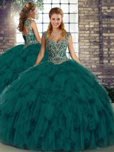 Flare Floor Length Lace Up Sweet 16 Quinceanera Dress Peacock Green for Military Ball and Sweet 16 and Quinceanera with Beading and Ruffles